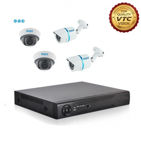 4Ch. Home Security DVR Kit, 2PCs 1MP Indoor CCTV Dome Surveillance, 2PCs 1MP Outdoor Bullet Cameras